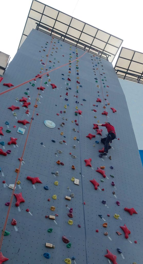 Picture of author climbing a rock climbing wall