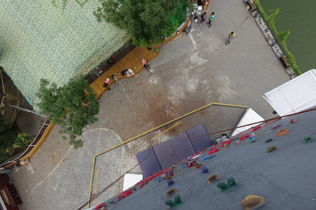 Picture of street looking down from rockclimbing wall