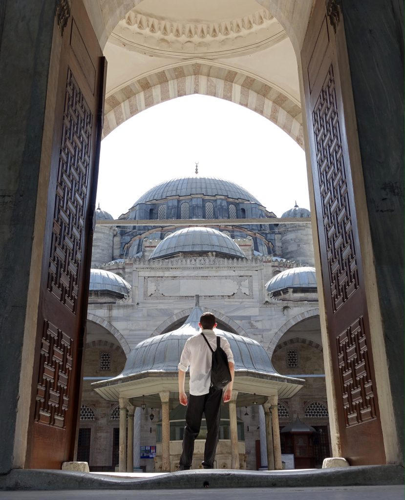 Author in front of a mosque in Istanbul