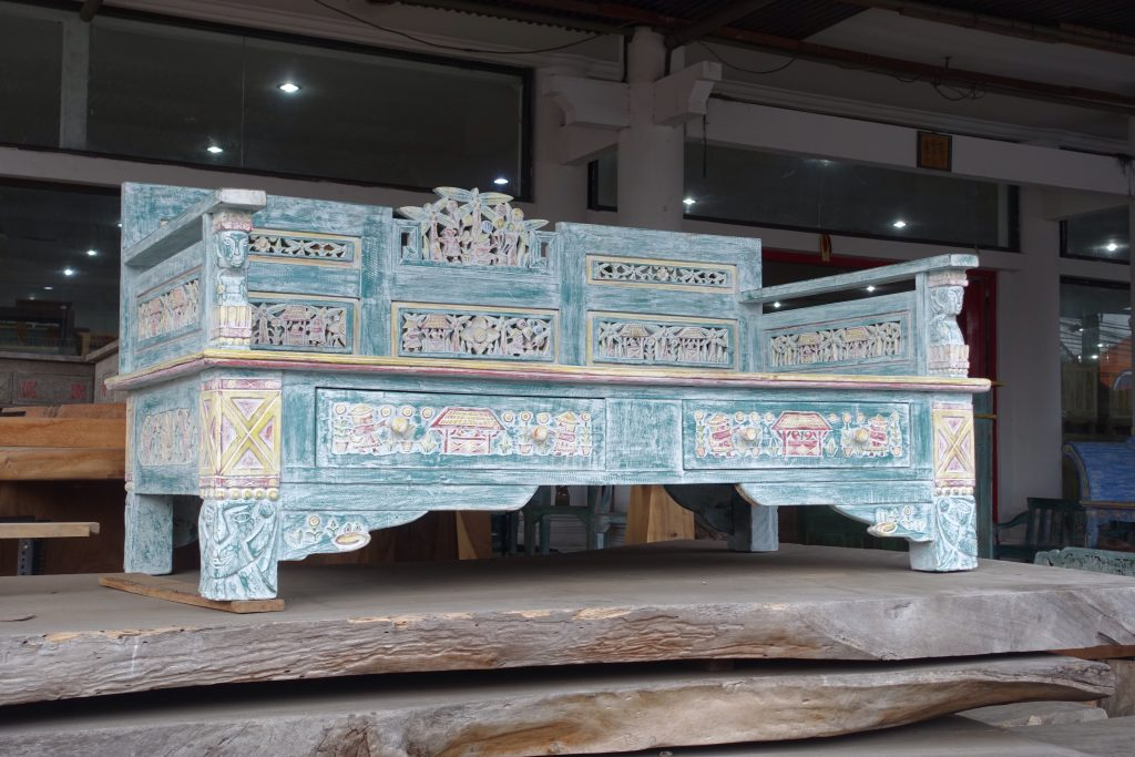 Carved wood bench