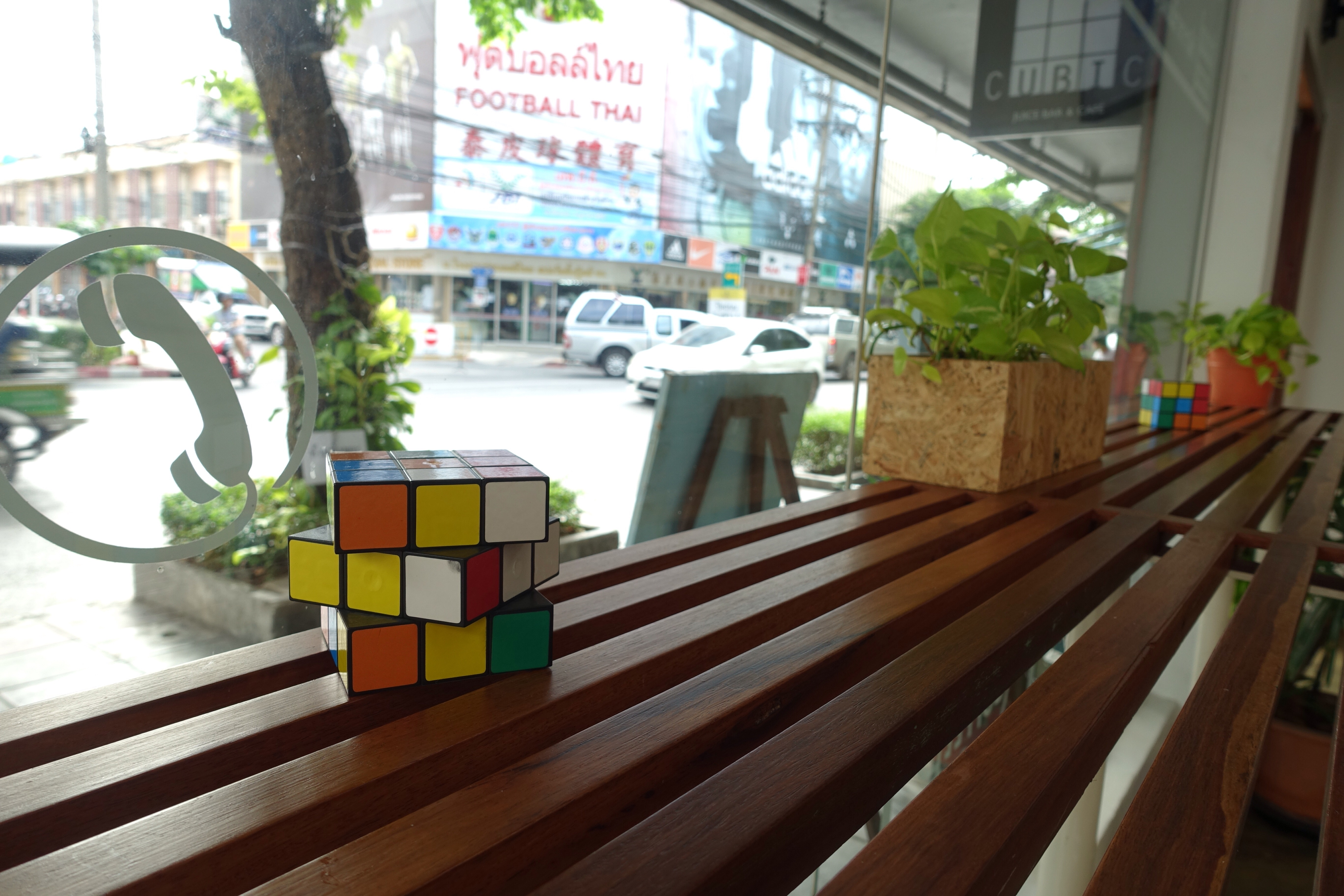 Picture of hostel with rubix cube