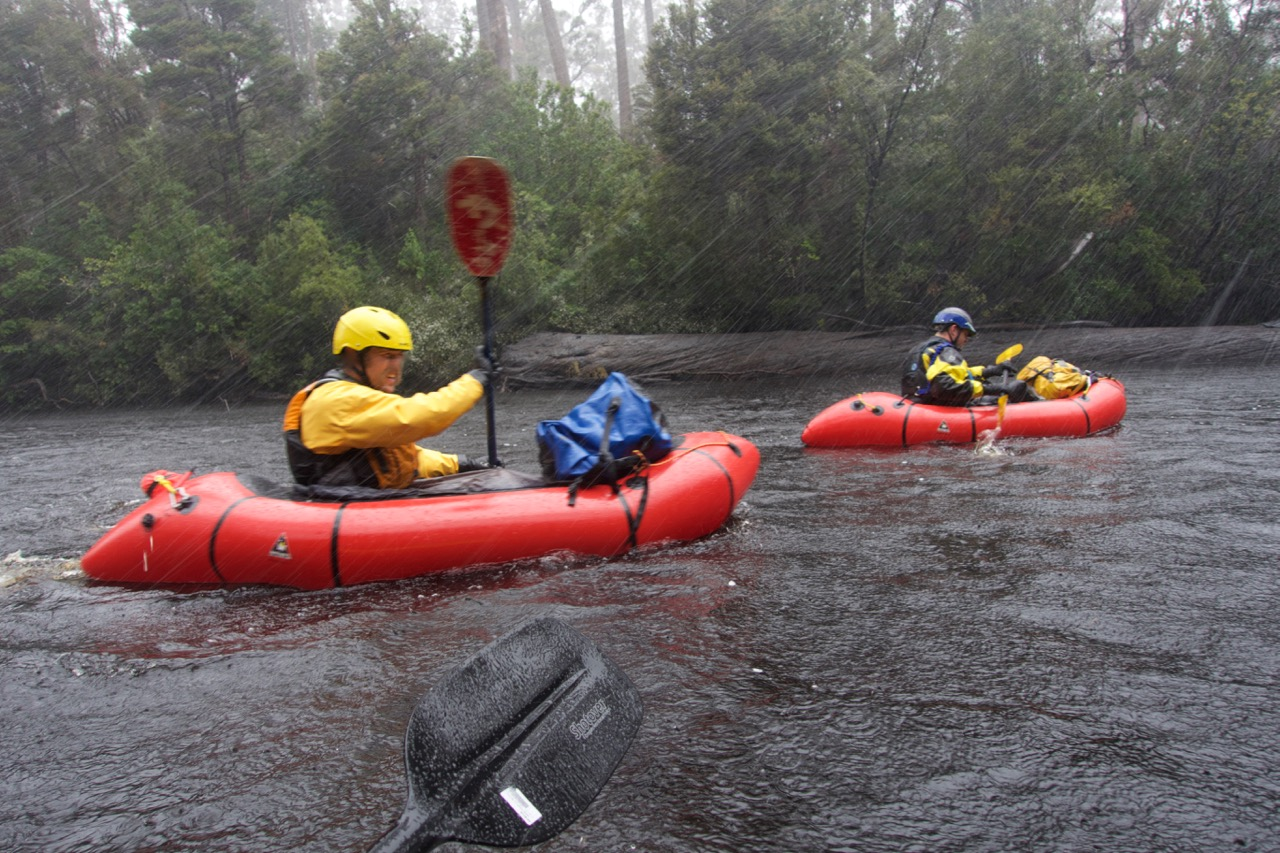 Picture of pack rafting in hail.