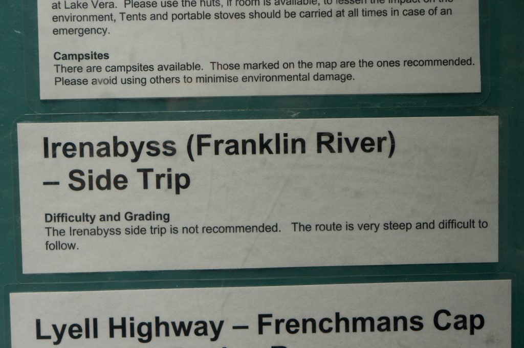 Information booth sign showing that the Irenabyss side trip is not recommended.