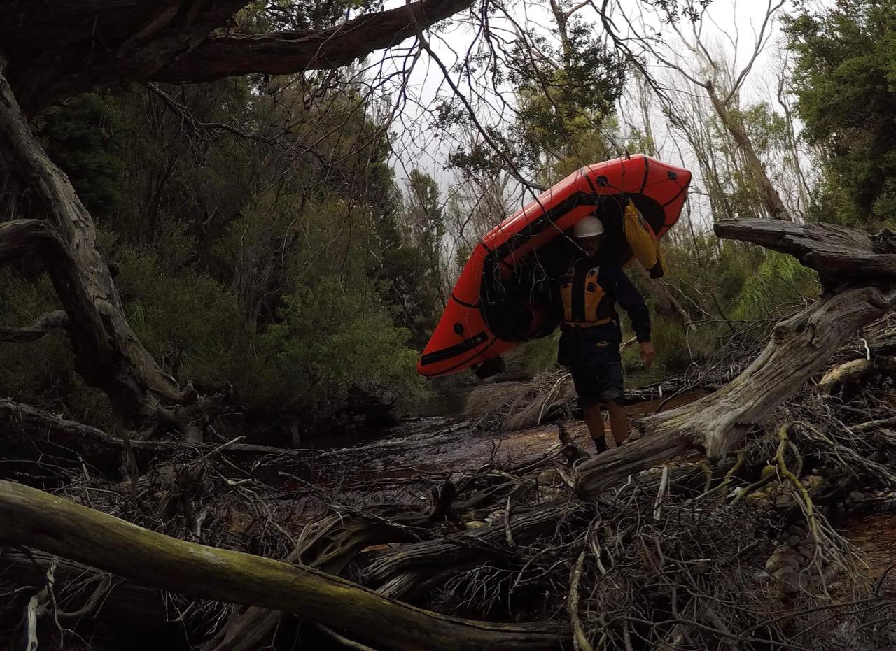 log jammed river